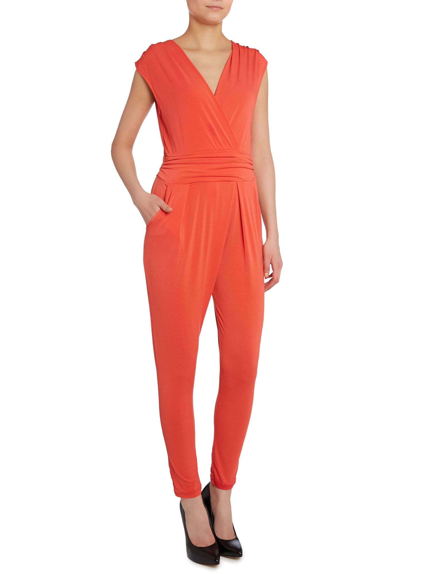 Cross front tie back jumpsuit