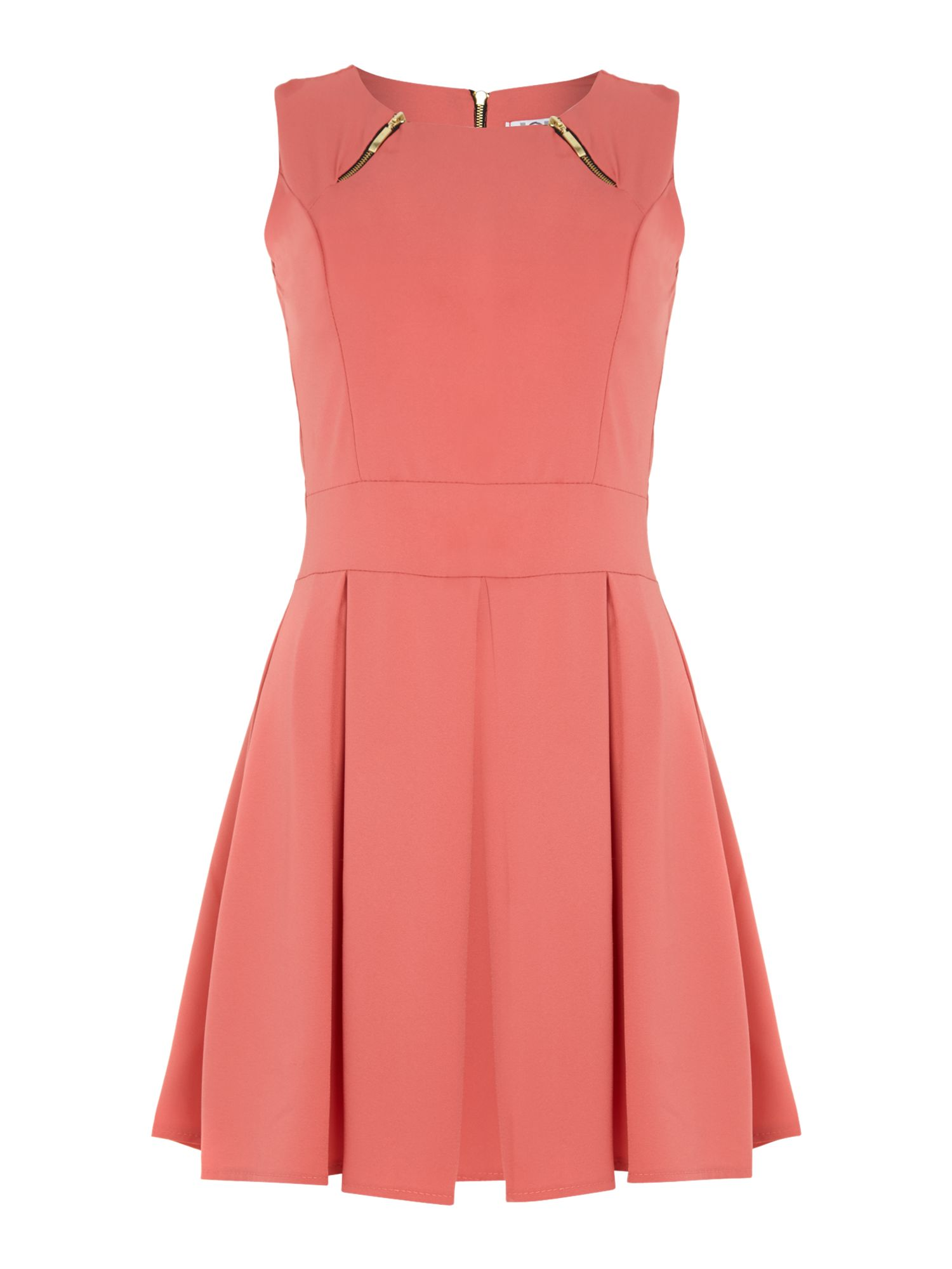 Sleeveless zip detail front dress