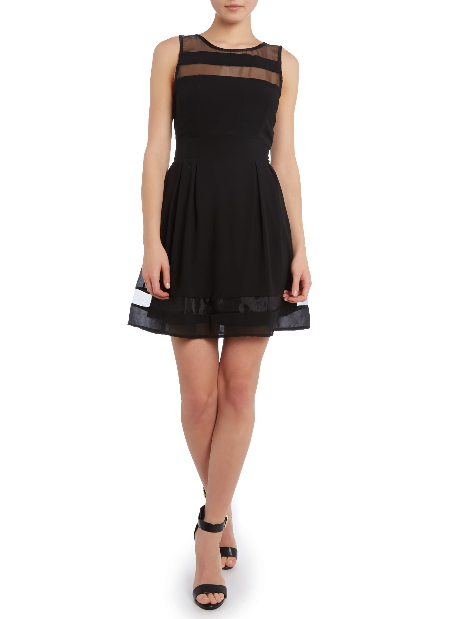Sleeveless mesh panel fit and flare dress