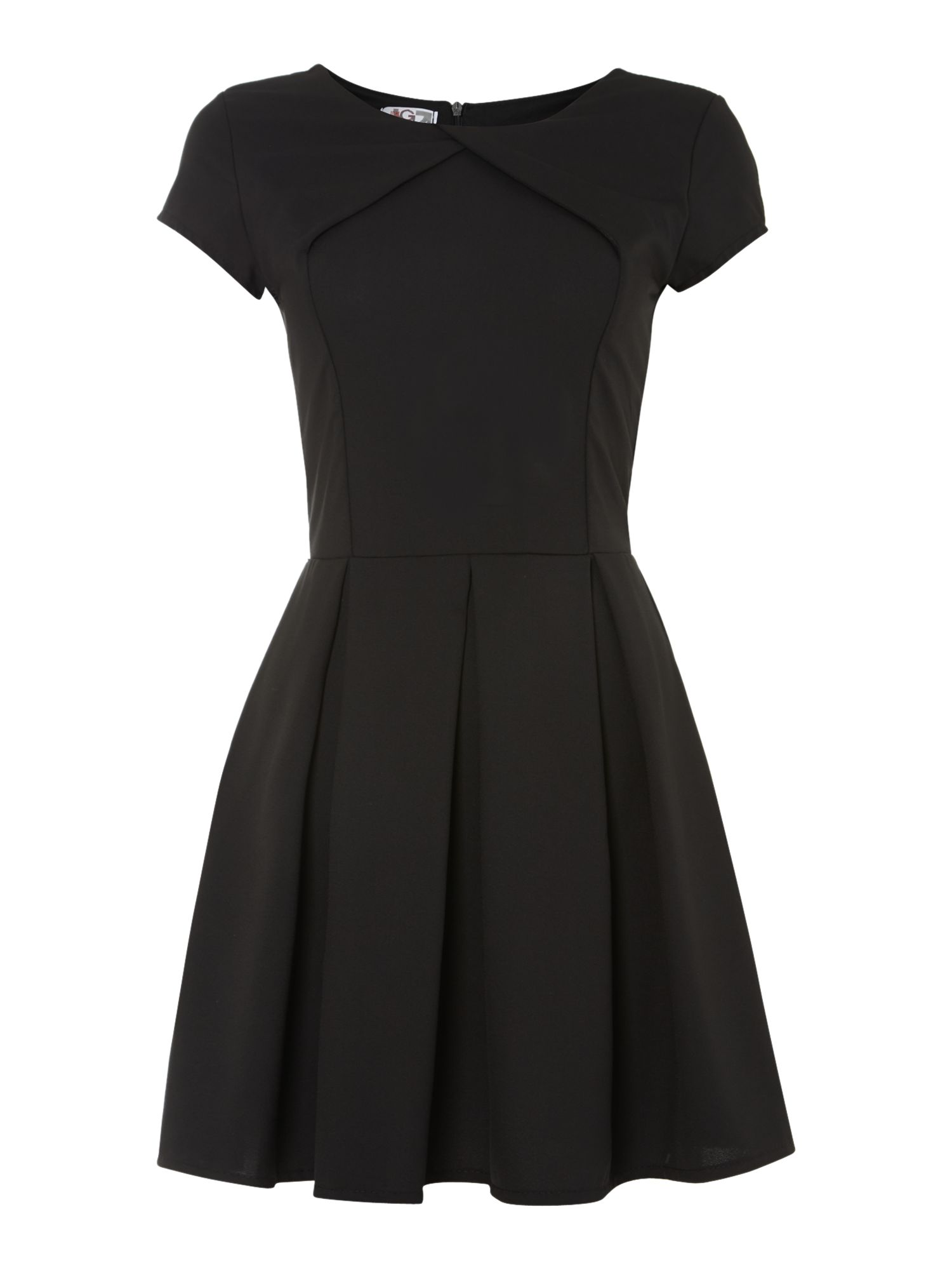 Cross over neckline fit and flare dress