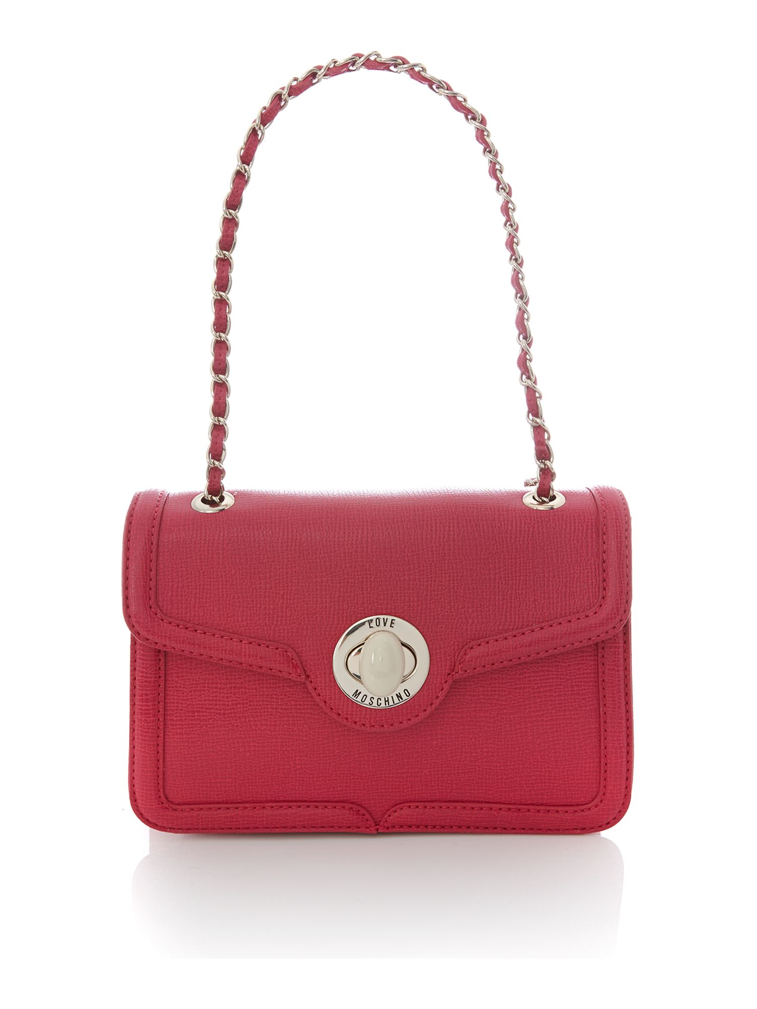 Pink small saffiano flapover shoulder bag