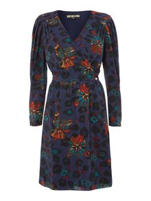 Bug print long sleeve wrap dress