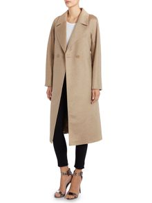Brando wool cashmere coat with tie