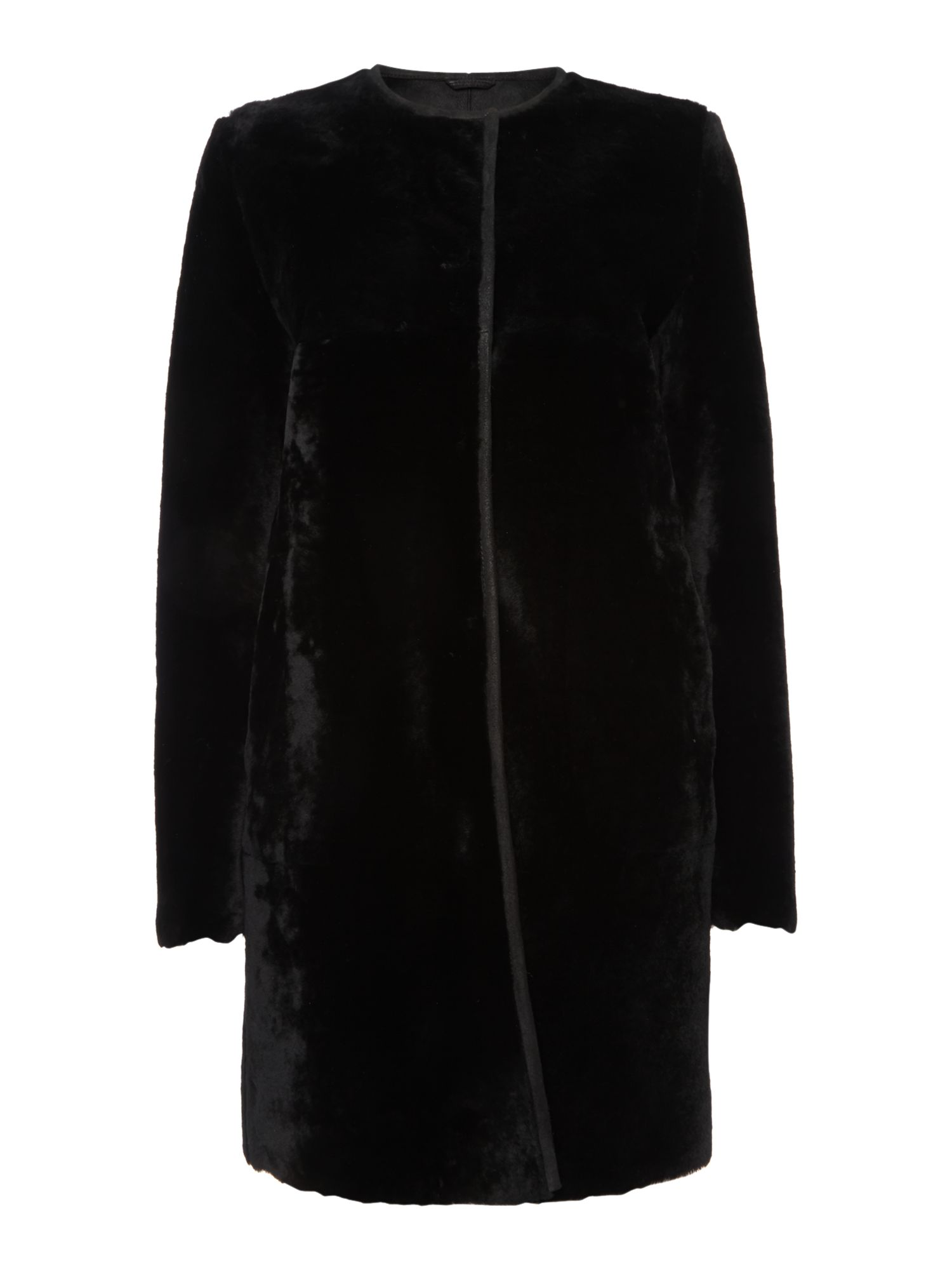 Zelig collarless shearling coat