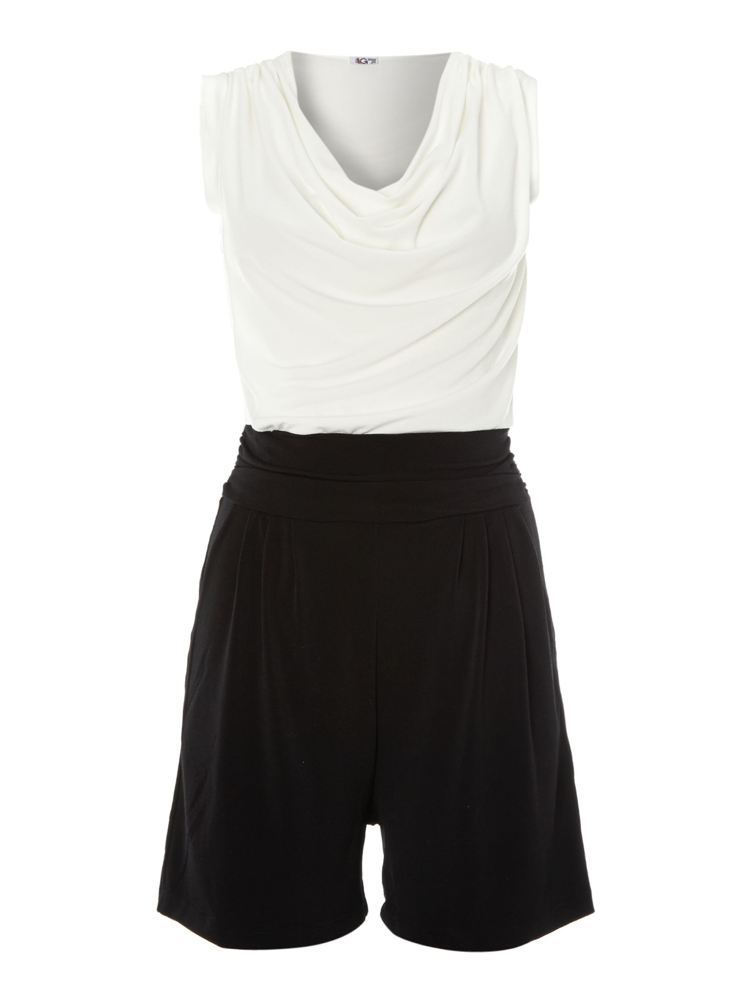 Cowl neck two tone sleeveless playsuit