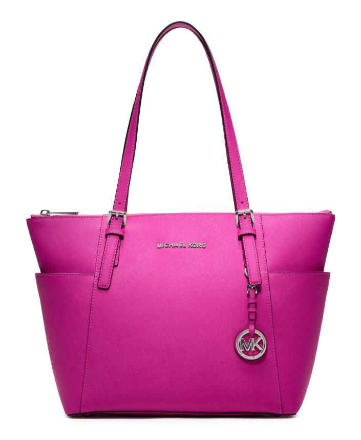 Jet set fuschia sml ew zip top tote bag