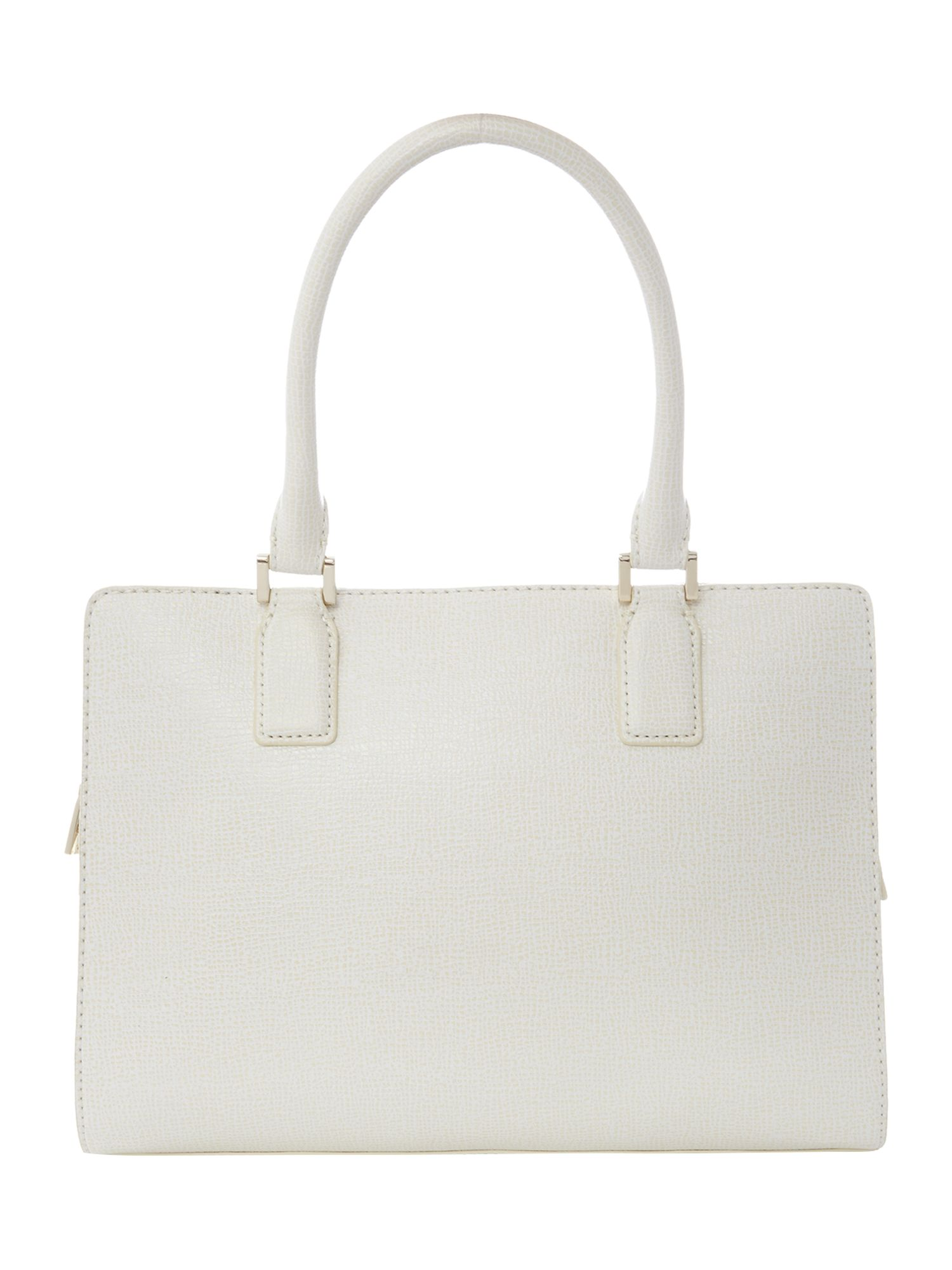 Cream large saffiano tote bag