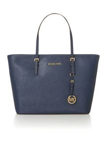 Jet set travel navy medium ew tote bag