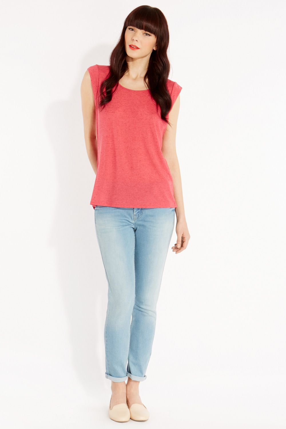 Linen mix tail back t-shirt