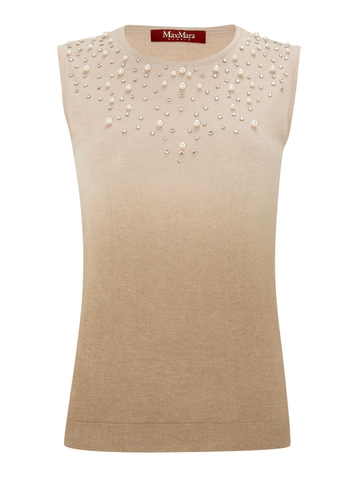 Romolo knitted sleeveless top with embellishment