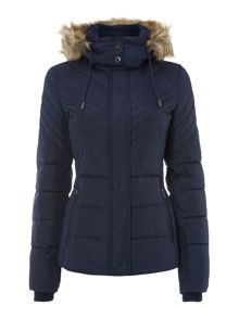 Padded coat with fur line hood