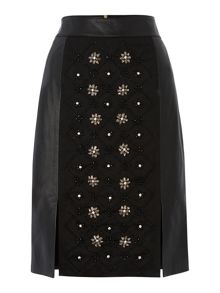 Gold Limited Edition Leather embellished skirt
