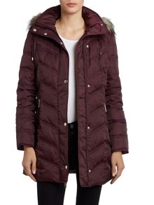 Long padded coat with fur hood