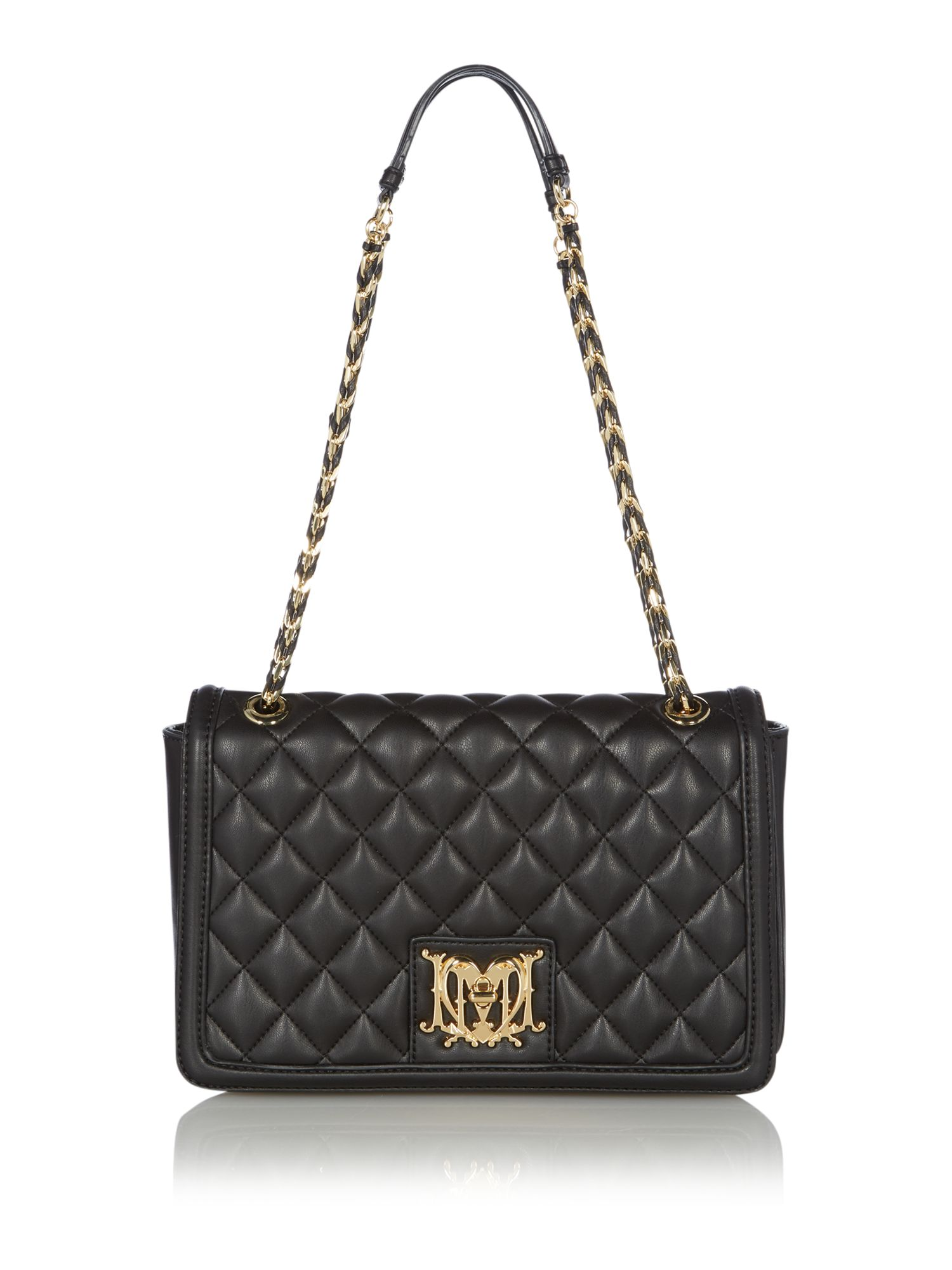 love moschino black quilt medium shoulder bag. Black Bedroom Furniture Sets. Home Design Ideas
