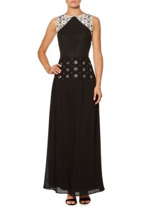 Embellished deco maxi dress