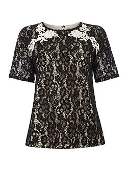 Orma short sleeved lace front top