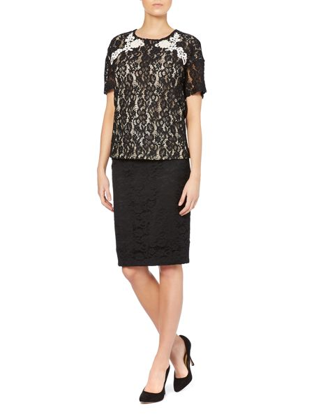 Max Mara Orma short sleeved lace front top