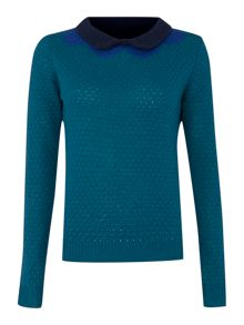 Knit collar jumper