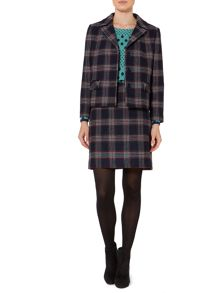 Boxy check wool jacket
