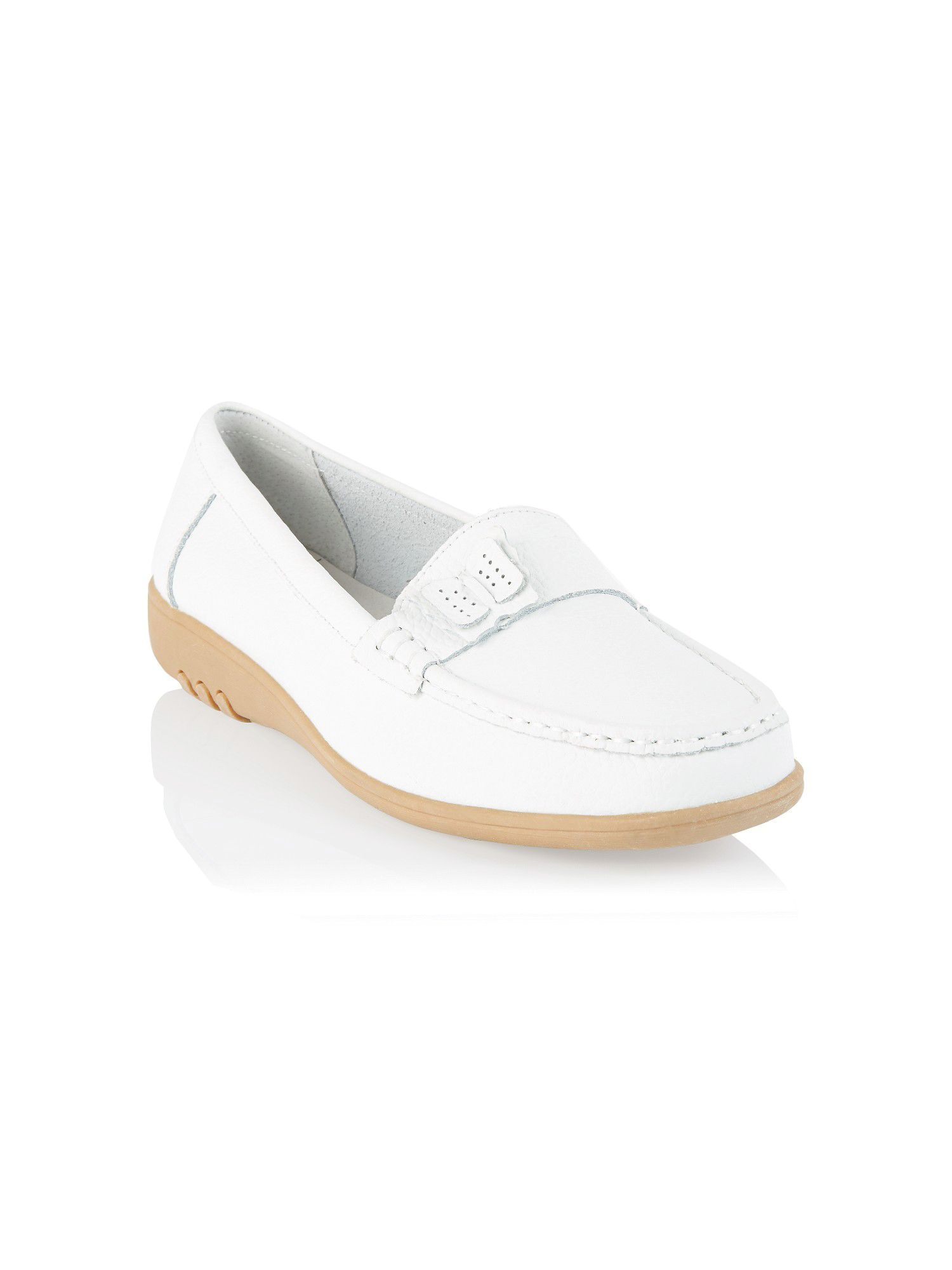 White butterfly leather moccasins