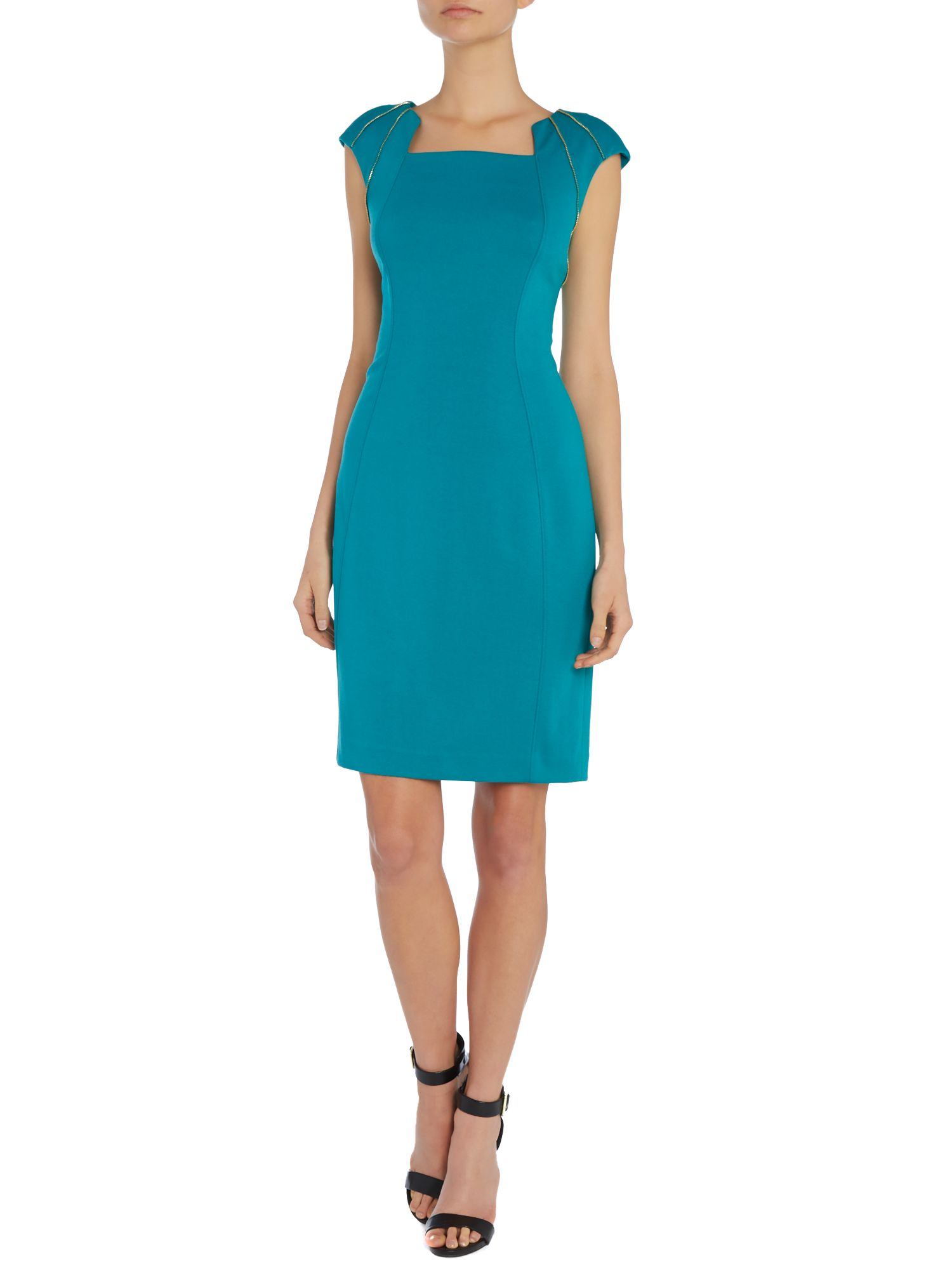 Cap sleeve dress with zip shoulders