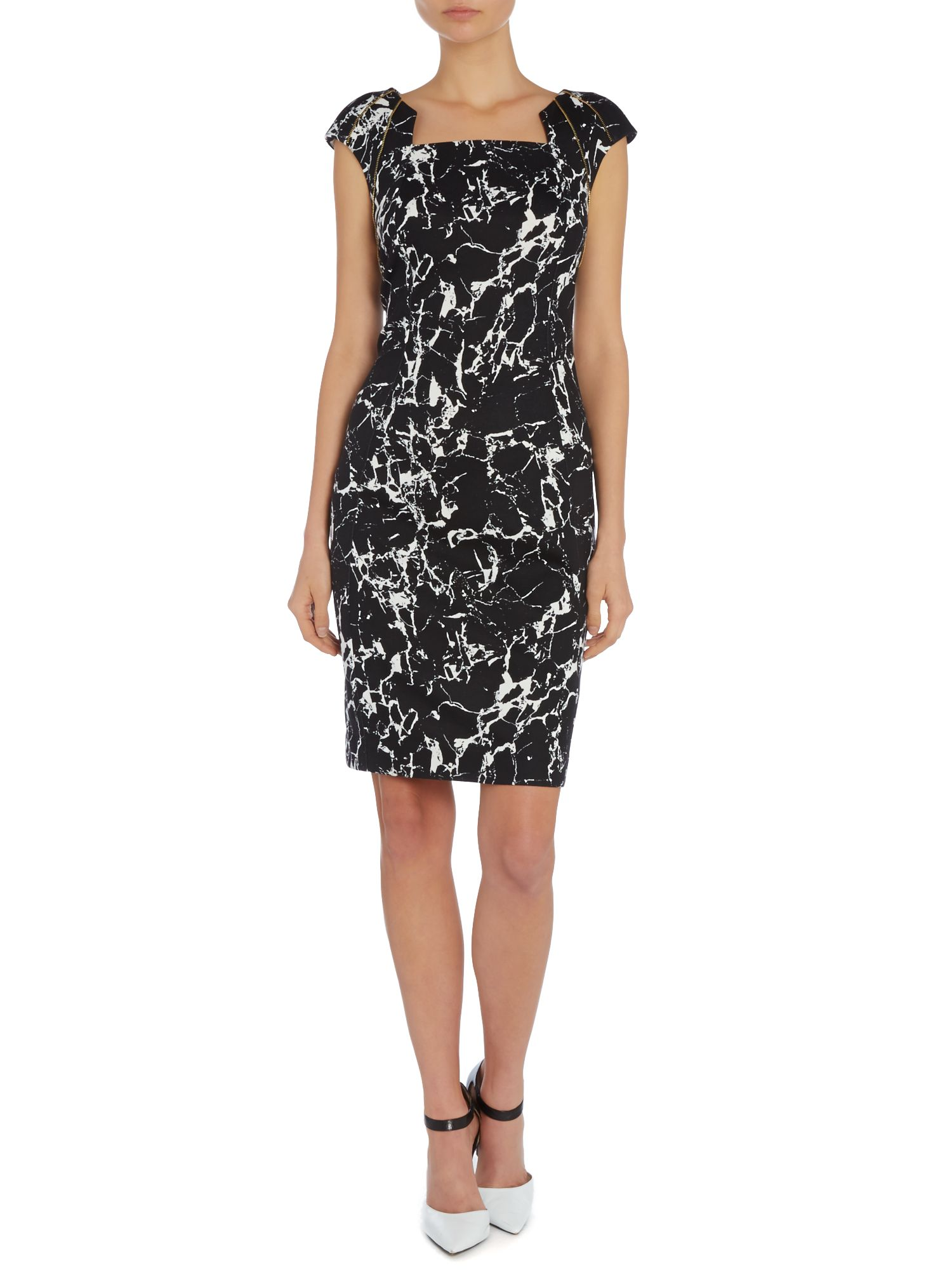 Cap sleeve marble print dress with zip shoulders