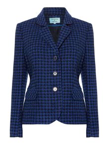 Dogtooth wool blazer