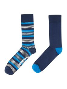 2 pack fine stripe socks