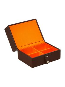 Brown small jewellery travel box