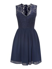 Lace v neck fit and flare dress