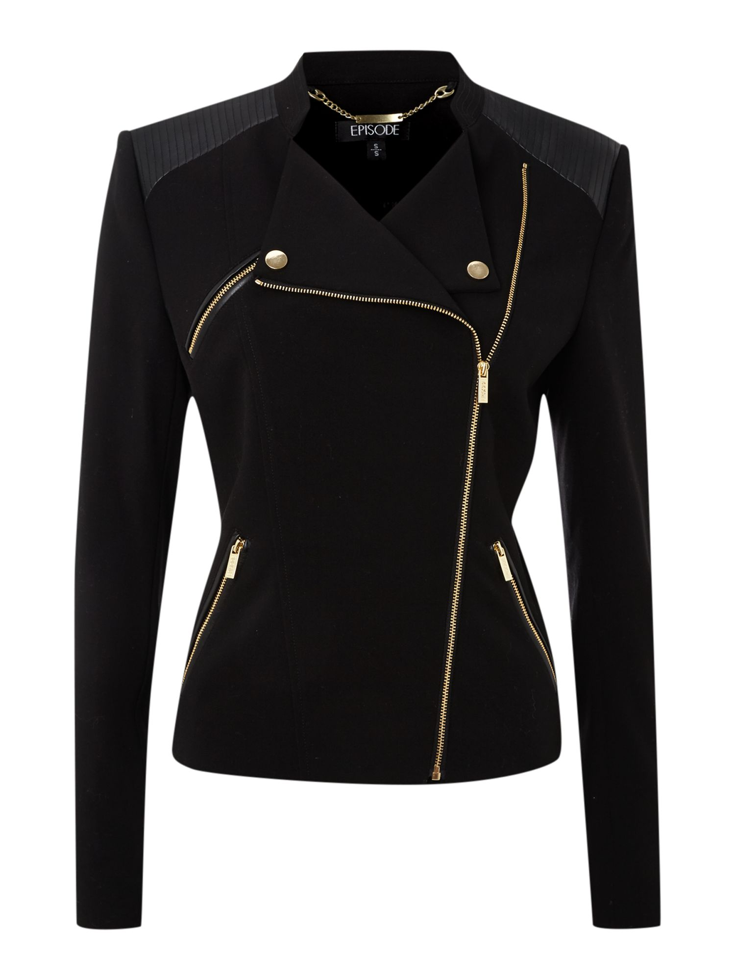 Jacket with PU shoulders and zip details