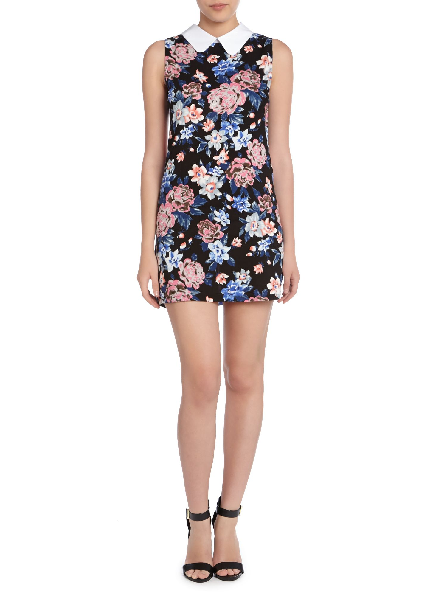 Floral printed dress with peter pan collar