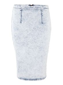 Acid wash denim midi skirt