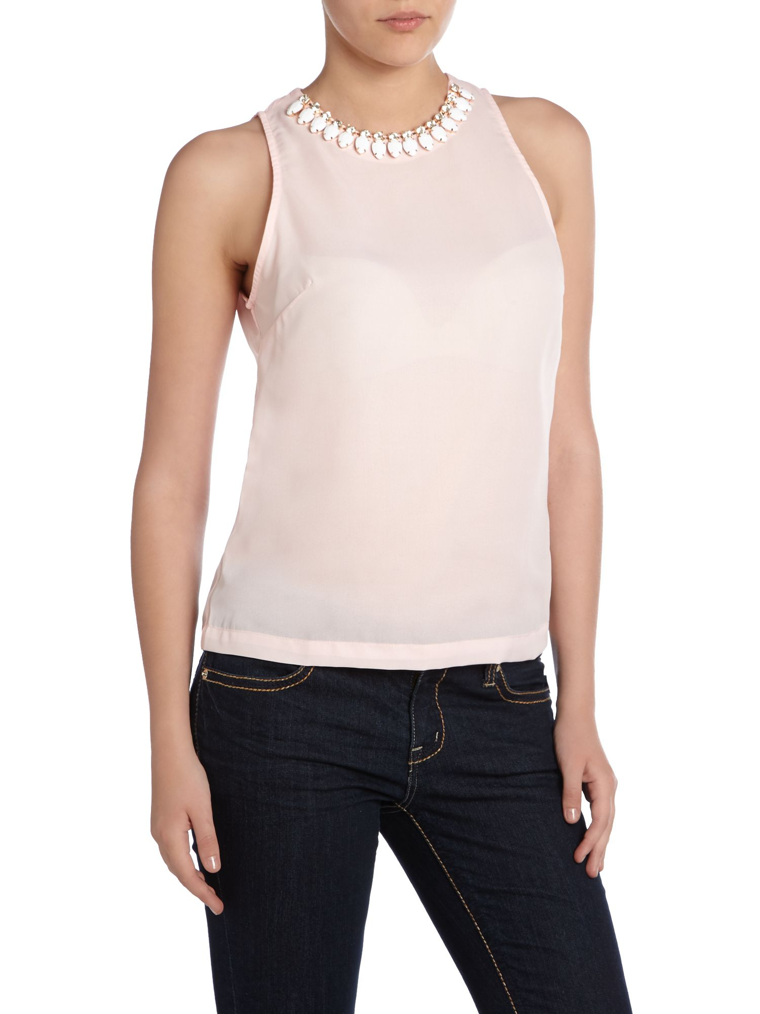 Sleeveless top with gem collar