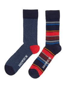 2 pack bright red stripe socks