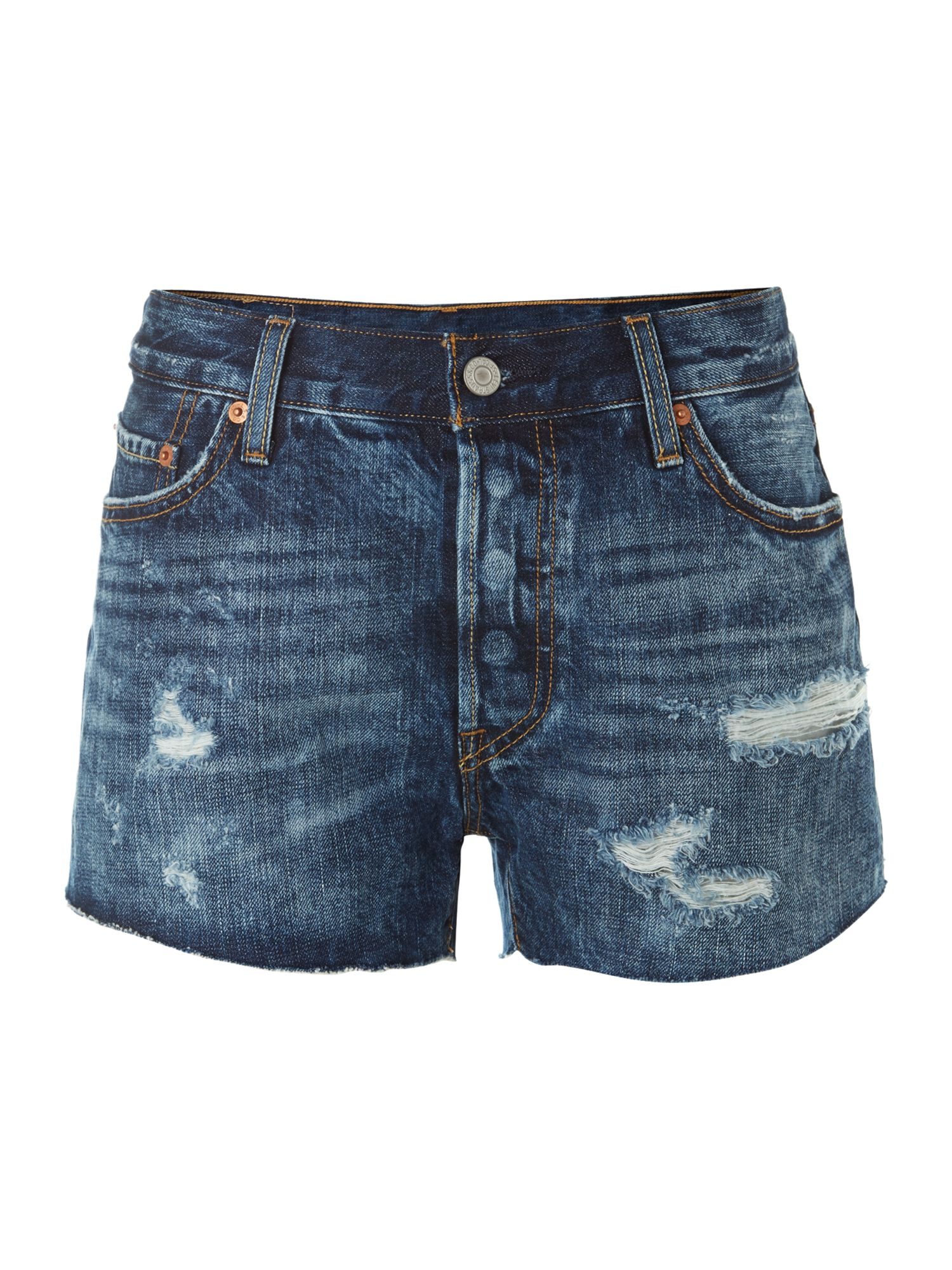 501 cut off shorts in authentic destruction