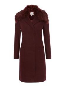 Wool blend faux fur collar coat