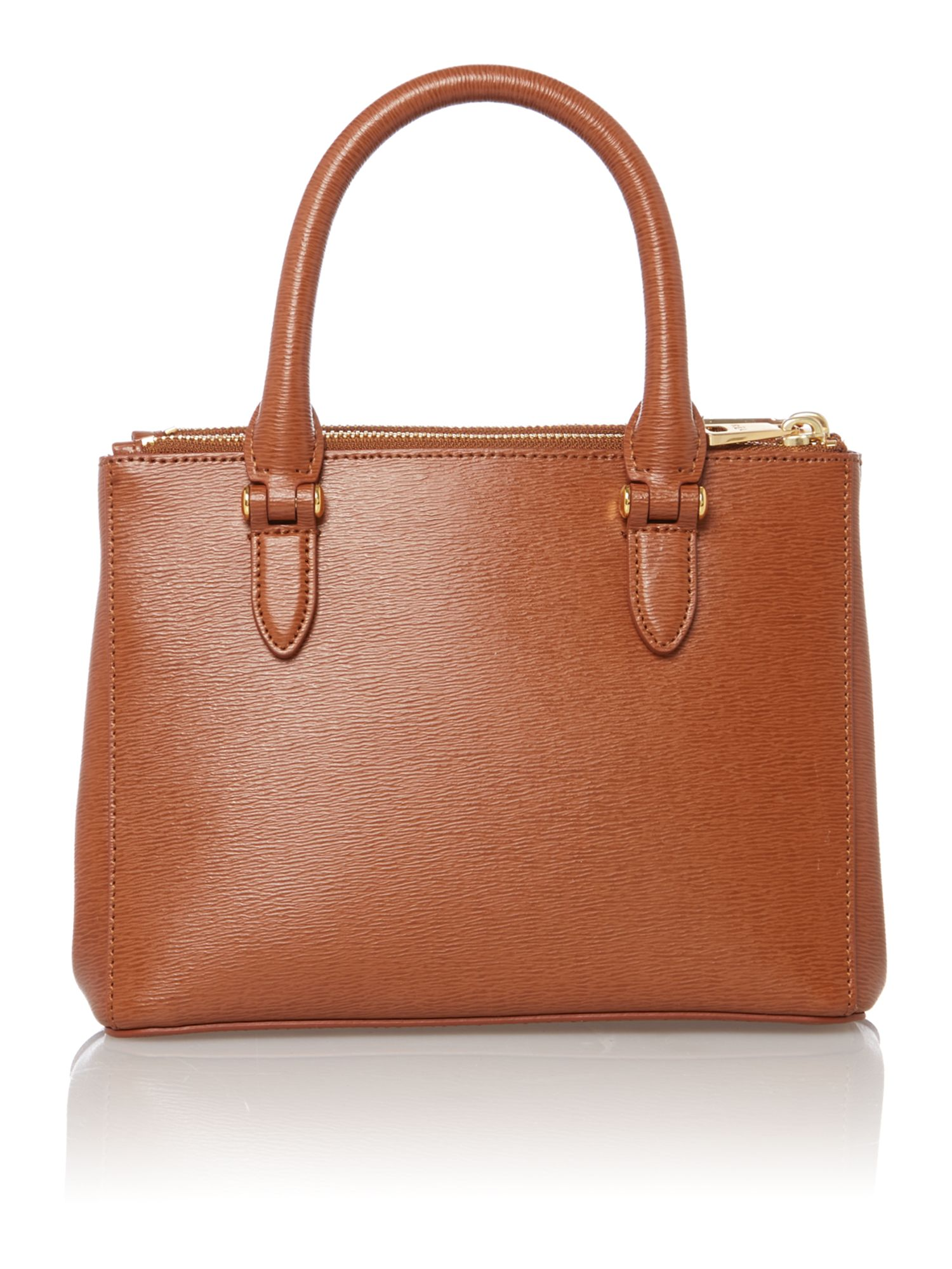 Newbury mini tan zip tote bag