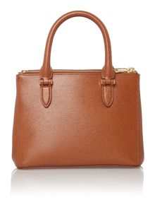 Lauren Ralph Lauren Newbury mini tan zip tote bag