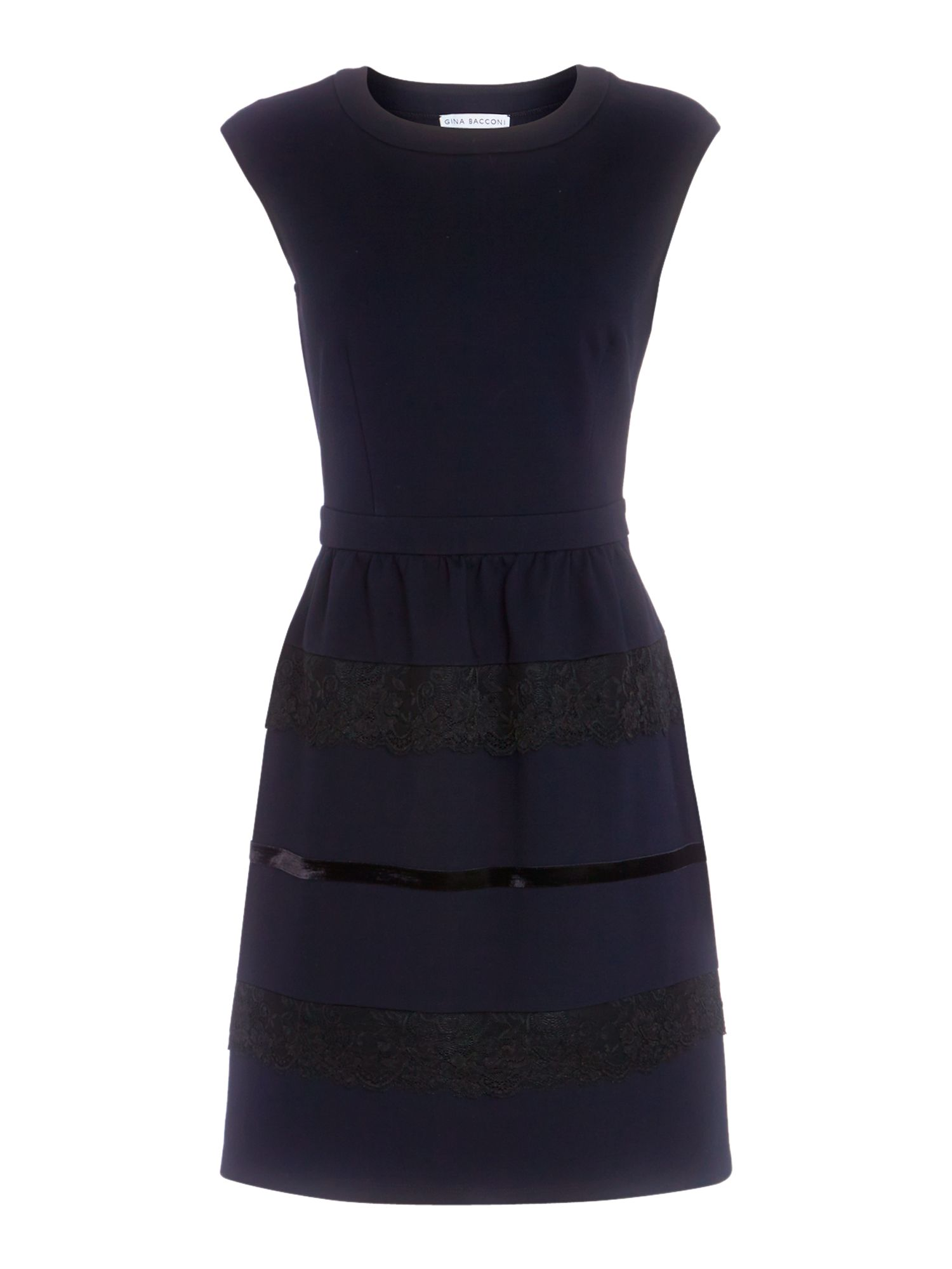 Jersey fit and flare dress with contast panels