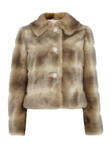 Faux fur coat with diamante buttons