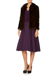 Faux fur coat with PU side panels