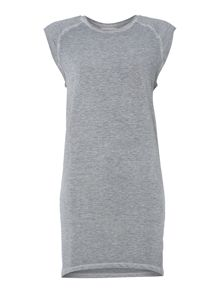 Jersey cocoon shoulder pad dress