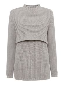 Double layer chunky jumper