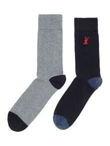 2 Pack Emboidered Stag Socks