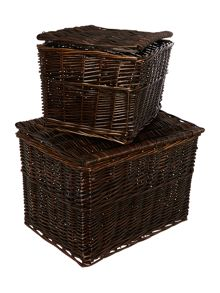 Set of 2 wicker hinged boxes