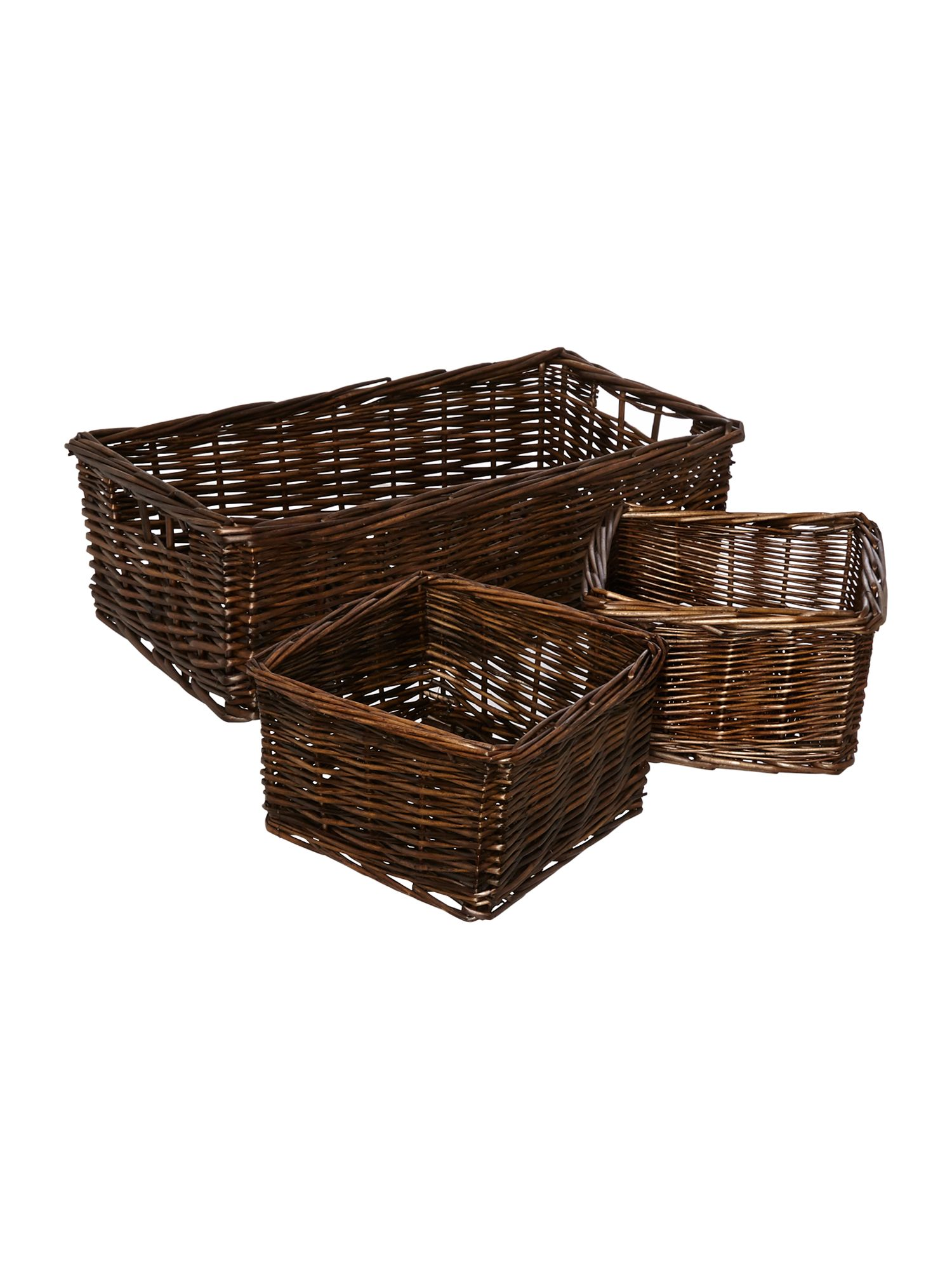 Wicker set of 3 storage trays