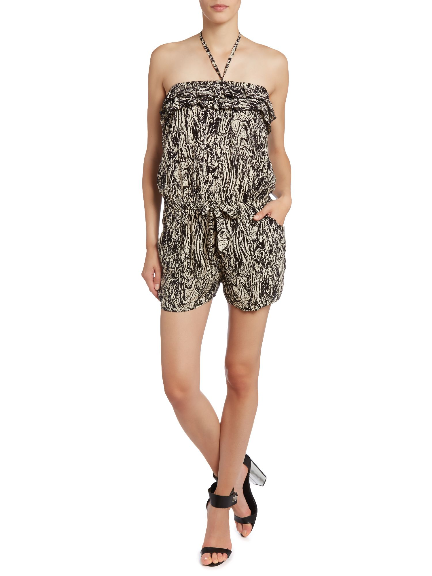 Wood print frill bustier playsuit