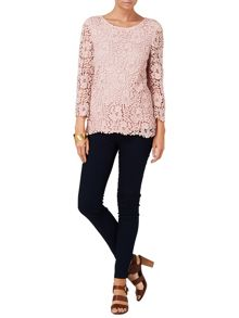 Zanna 3/4 sleeve crochet lace blouse