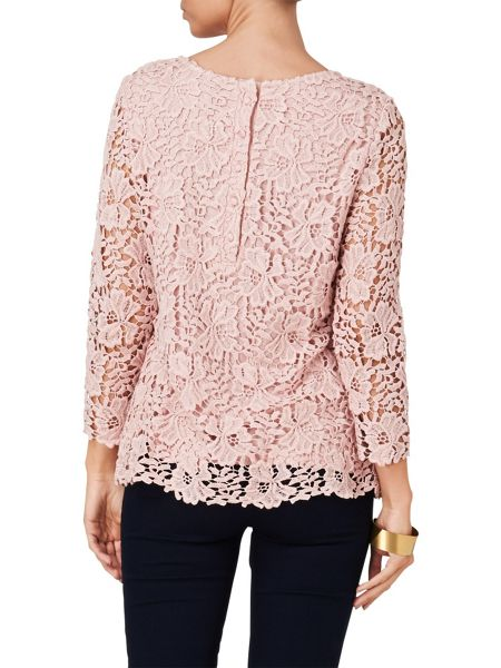Phase Eight Zanna 3/4 sleeve crochet lace blouse